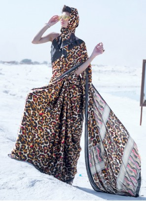 Printed Crepe Silk Multi Colour Classic Saree