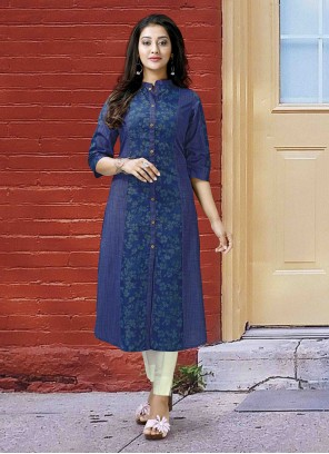 Blue Polly Cotton Printed Designer Kurti
