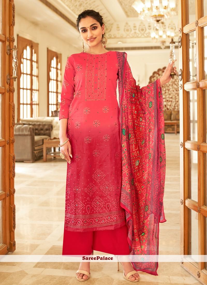 Printed Designer Palazzo Red Salwar Kameez