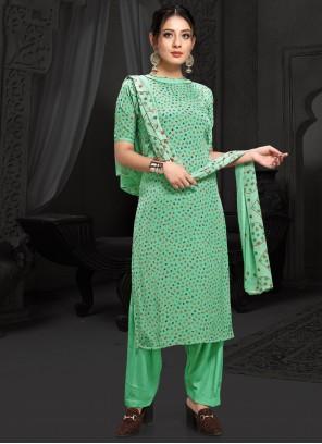 Green Faux Crepe Printed Designer Salwar Kameez