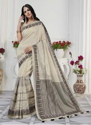 Cream Printed Designer Traditional Saree
