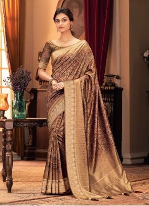 Brown Printed Designer Traditional Saree