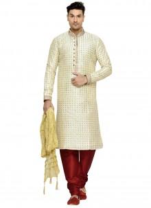 Printed Dupion Silk Kurta Pyjama in Cream