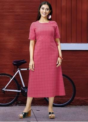 Pink Printed Engagement Designer Kurti
