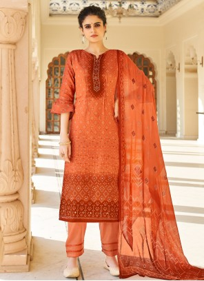 Printed Fancy Fabric Orange Designer Palazzo Salwar Kameez