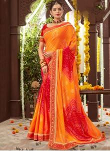Printed Faux Chiffon Orange Classic Saree