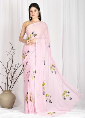 Printed Faux Chiffon Pink Printed Saree