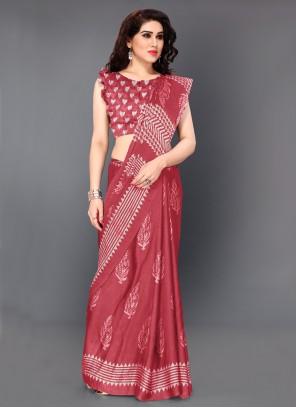 Printed Faux Chiffon Pink Traditional Saree