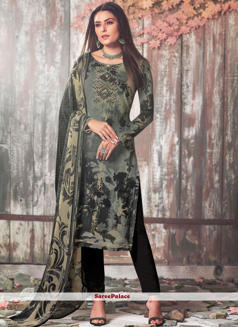 Printed Faux Crepe Black and Grey Pant Style Suit