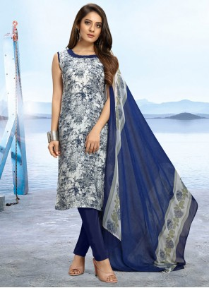 Printed Faux Crepe Multi Colour Trendy Salwar Kameez