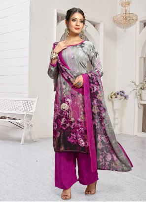 Printed Faux Crepe Palazzo Designer Salwar Suit in Grey and Pink