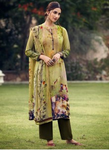 Printed Faux Crepe Palazzo Suit