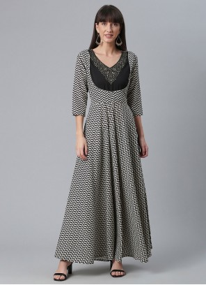 White And Black Printed Faux Crepe Party Wear Kurti