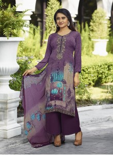 Printed Faux Crepe Salwar Suit in Purple