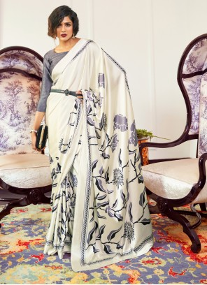 Printed Faux Crepe Trendy Saree in White