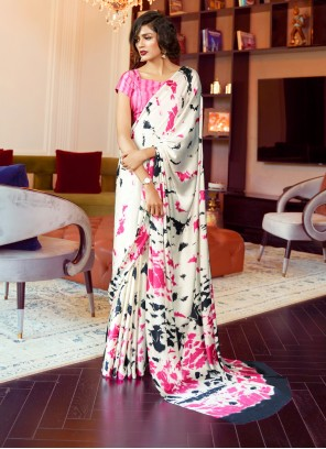Printed Faux Crepe White Traditional Saree