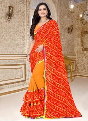 Orange And Red Printed Faux Georgette Half N Half  Saree
