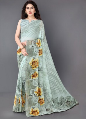 Printed Faux Georgette Off White Casual Saree