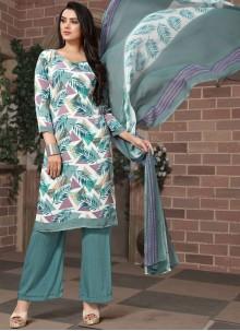 Printed Faux Georgette Pakistani Salwar Kameez in Multi Colour