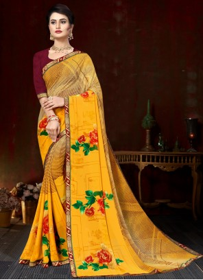 Yellow Faux Georgette Printed Saree