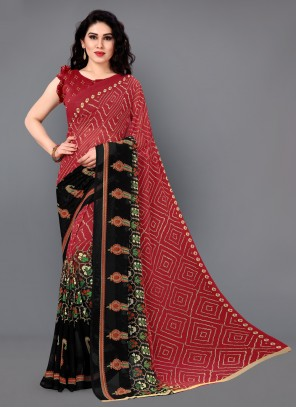 Printed Faux Georgette Red Casual Saree
