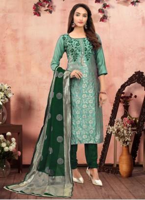Printed Festival Churidar Green Designer Suit