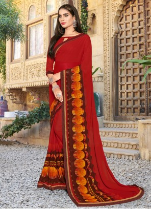 Printed Festival Red Classic Saree