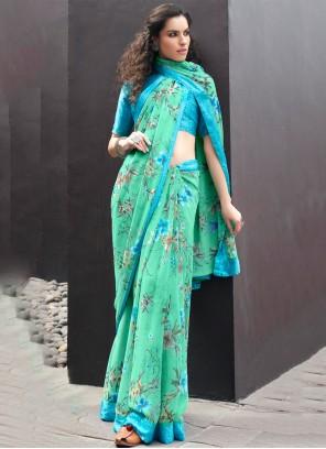 Printed Georgette Casual Saree in Multi Colour