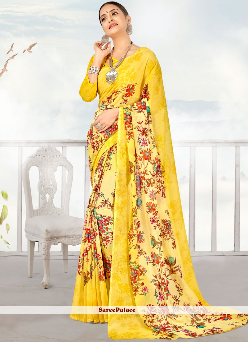 Printed Georgette Casual Saree in Yellow