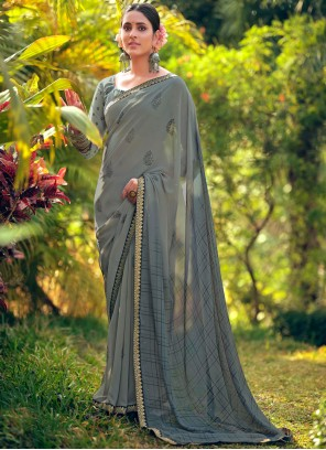 Printed Georgette Grey Classic Saree
