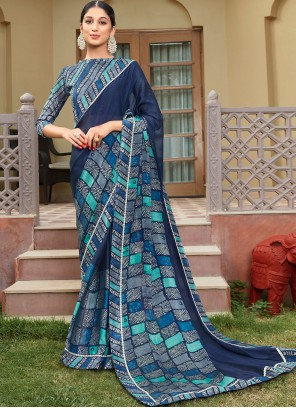 Printed Georgette Contemporary Saree in Blue