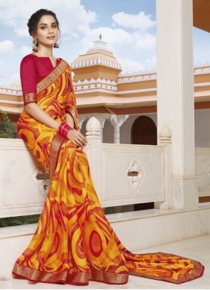 Printed Georgette Contemporary Saree in Multi Colour