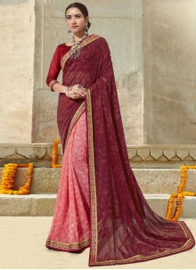 Printed Georgette Maroon and Pink Classic Saree