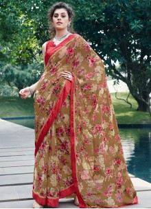 Printed Georgette Multi Colour Casual Saree