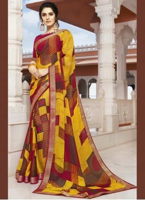 Printed Georgette Multi Colour Designer Saree