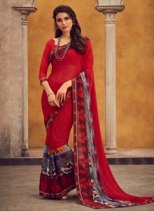 Printed Georgette Traditional Saree in Red
