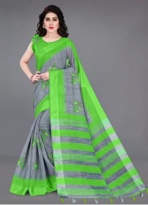 Printed Green and Grey Cotton Printed Saree