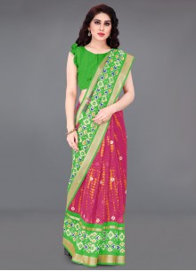 Green and Hot Pink Printed Saree