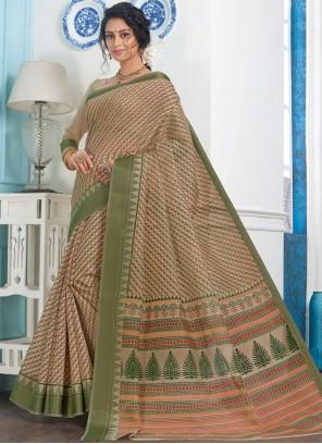 Printed Green Casual Saree