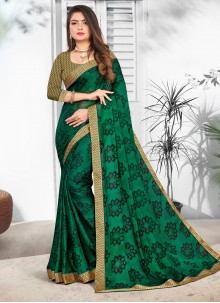 Printed Green Classic Saree