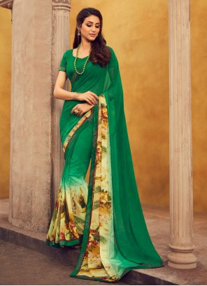 Printed Green Georgette Casual Saree