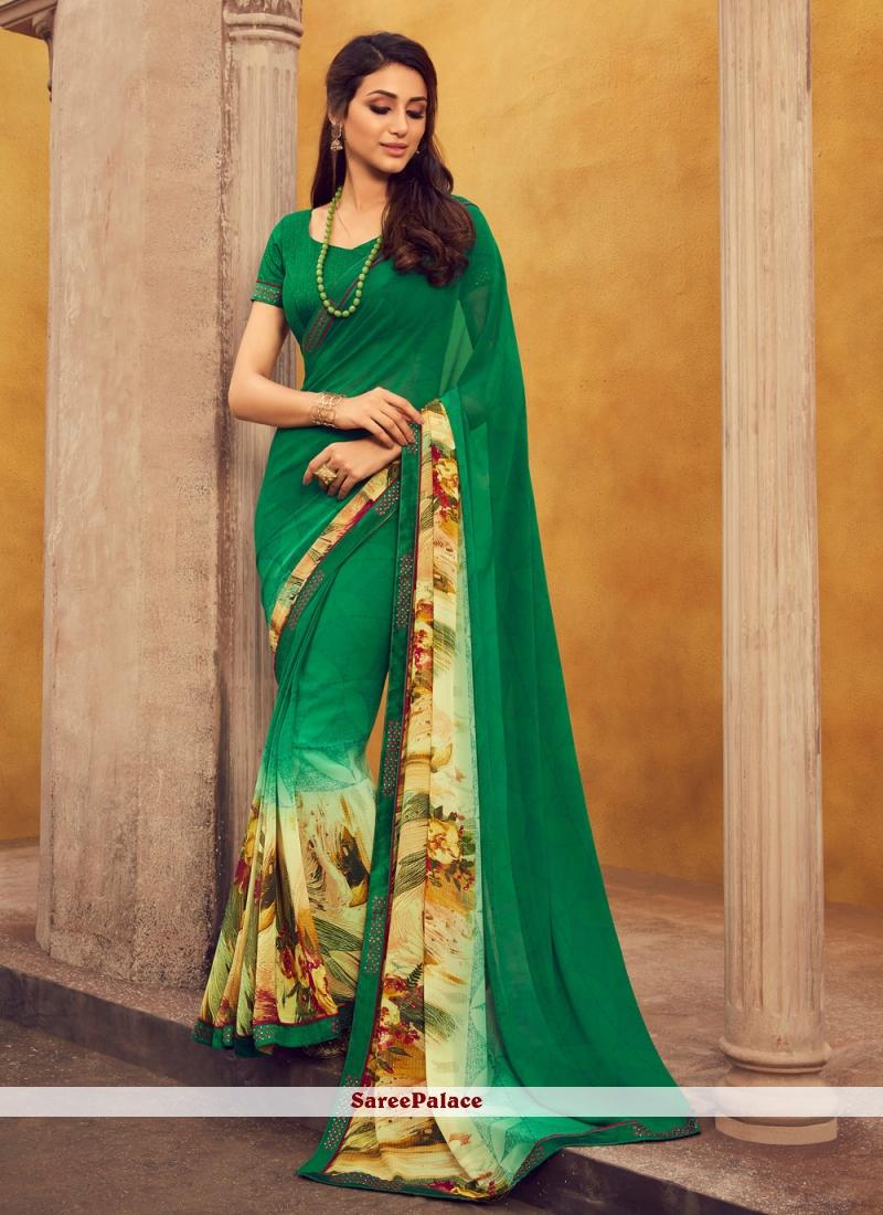 Printed Green Georgette Casual Saree