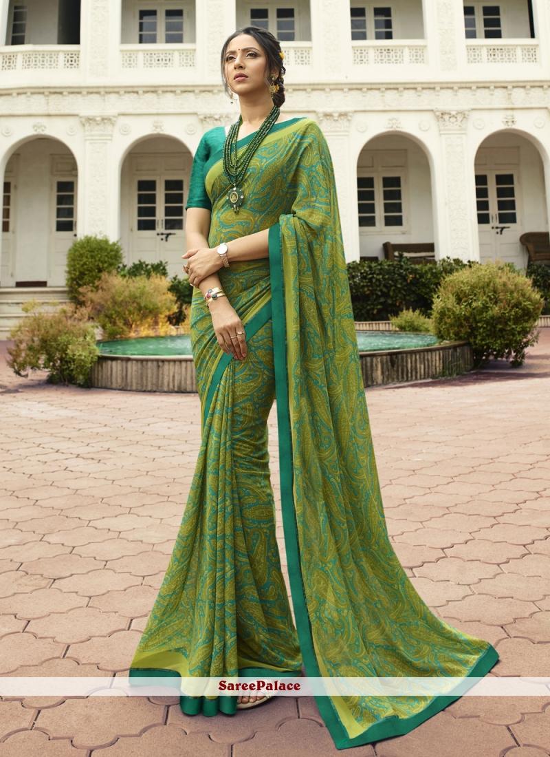 Printed Green Georgette Classic Saree