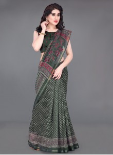 Printed Green Printed Saree