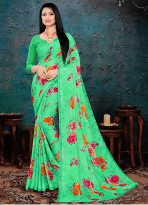 Faux Chiffon Printed Green Saree