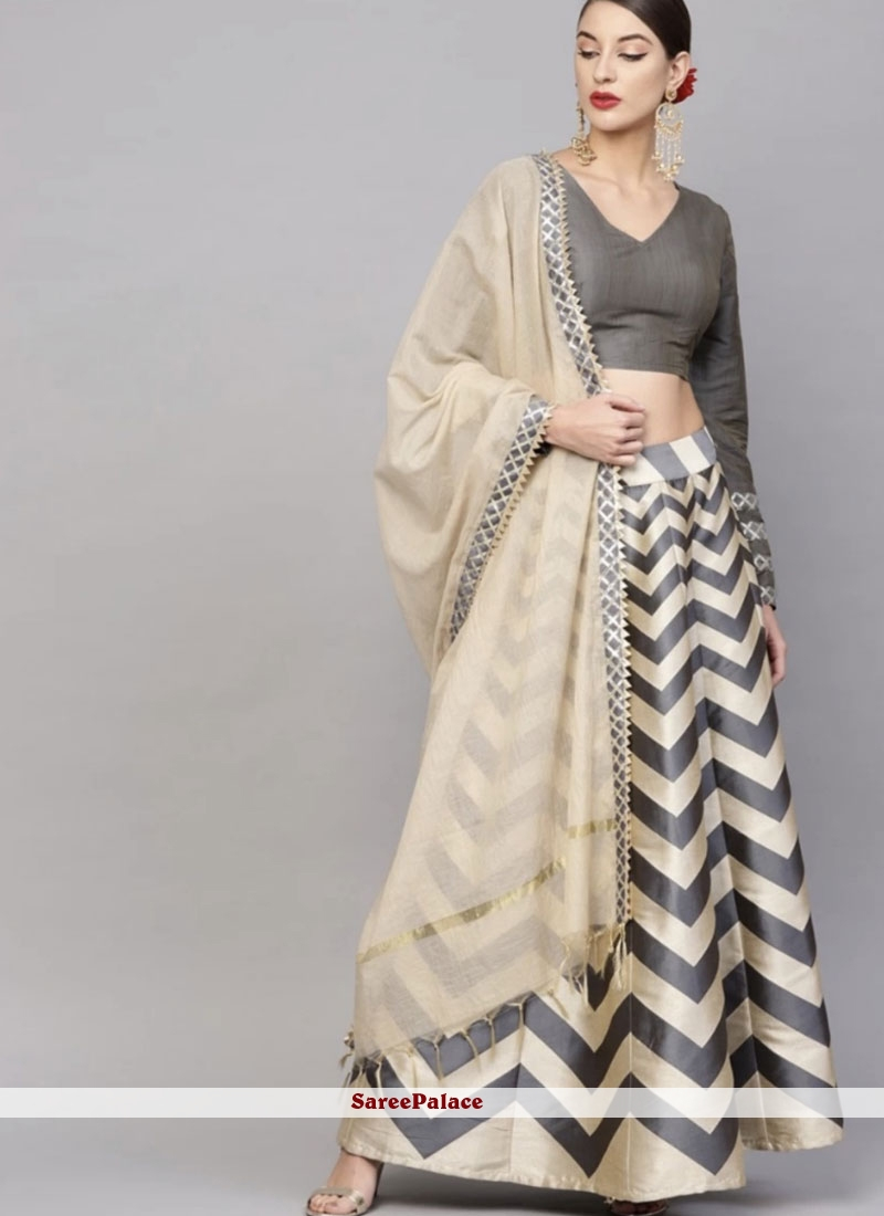 Printed Grey and Multi Colour Readymade Lehenga Choli
