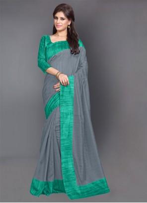 Printed Grey Art Silk Casual Saree