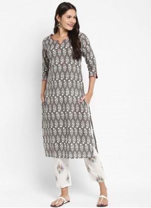 Printed Grey Cotton Designer Kurti