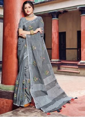 Printed Grey Linen Classic Saree