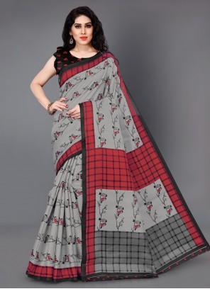 Printed Grey Trendy Saree